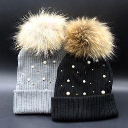 Wholesale Raccoon Hair - Wholesale handmade pearl hair bulb hat lady cute pearl knitting hat raccoon hair bulb warm hat joker