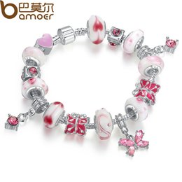 Wholesale Butterfly Murano Glass Pendants - Silver Color Snake Chain Bracelet for Women With Butterfly Pendant & Pink Murano Glass Beads Elegant Jewelry PA1177