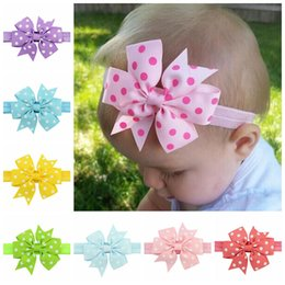Wholesale Children Headband Design Ribbon - 20Pcs Lot Newly Design Sweet Children Grosgrain Ribbon Bow Dot Headband Princess Round Dot Bowknot Elastic Hair Bands Beautiful HuiLin C05