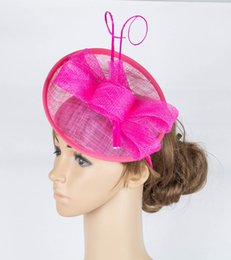 Wholesale nice materials - Free shipping 17 colors elegant sinamay material fascinator hats nice T-platform hair accessories party headpiece hot pink millinerey MYQ078