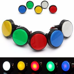 Wholesale Round Push Button Switches - 5 Colors LED Light Lamp 60MM Big Round Arcade Video Game Player Push Button Switch