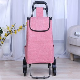 Wholesale Supermarket Supplies - Top Selling Reusable Shopping Bag Folding Trolley Bag Shopping Cart Supermarket Handcart Six Wheel Utility Cart Travel Supplies ZG0118