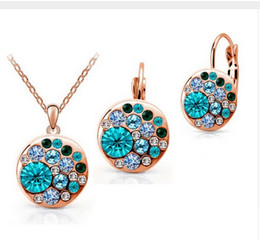 Wholesale Gold Plate Round Earrings - 3 colour Cz crystal made with Swarovski Elements gold jewelry set for Women Round Sets conjuntos de joyeria