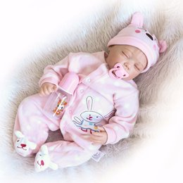 Wholesale Silicone Women Doll - Wholesale- 22-Inch Lifelike Newborn Reborn Baby Doll Girl for Women Treats-3 4 Silicone 1 4 Cotton