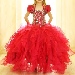 Wholesale White Cupcake Pageant Skirt - Red Ball Gown Girls Pageant Dresses With Jaket Bling Bling Crystals Exposed Boning Ruffles Skirt Puffy Child Cupcake Dress 2017