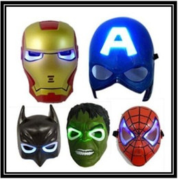 Wholesale Spiderman Kid Mask - new hot LED Glowing Light Mask hero SpiderMan Captain America Hulk Iron Man Mask For Kids Adults Party Halloween Birthday