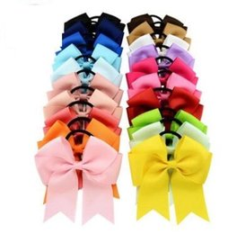 Wholesale American Headwear China - 4.5 inch high quality grosgrain ribbon hair bow with same color elastic headband for pony tail holder for kids headwear shipping free