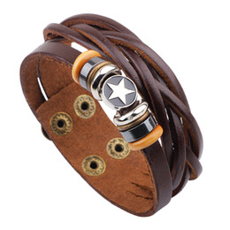 Wholesale Mens Real Gold Bracelets - Real Leather Charm with Logo Star Bracelets Cool Mens Leather Braided Brown Fashion Newest Design Bracelet LB013