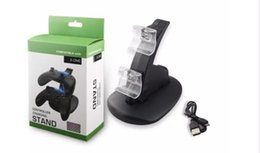 Wholesale Dual Charge Controller - For Xbox One Playstation LED Dual USB Charger Dock Mount Charging Stand Holder For Wireless PS4 XBOX ONE Gamepad Game Controllers With Pack