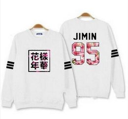 Wholesale Bts Album - Kpop bts hoodies for men women bangtan boys album floral letter printed fans supportive o neck sweatshirt plus size tracksuits