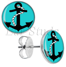 Wholesale plug anchor - 50pcs lot Stainless Steel Turquoise Black Nautical Anchor Ear Stud Earrings Fake Plugs Diameter 10mm*16g ZCST-042