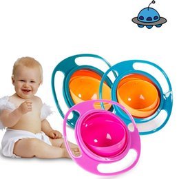 Wholesale Gyro Bowls - Creative Universal Gyro Bowl Toddlers Babys Toy Rotate UFO Bowls Keep Balance Non Spill Eat Food Snacks Dinnerware Lunch Box 3 8xr A