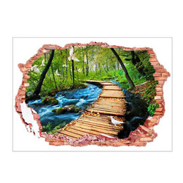 Wholesale Wood Pvc Wall Sticker - Removable Broken Wall 3D PVC Landscape Wall Stickers Woods The Path River Flying Birds Scenery Wall Stickers Home Decoration