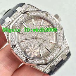 Wholesale Gem Quality Diamonds - Luxury Brand Top Quality JF Factory Silver Sapphire Automatic Mens Watch Diamond Dial Blue Alligator Leather Strap Luminous Man Wristwatches