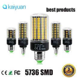 Wholesale Best E14 Led Bulb - 2017 LED Corn lamp E27 E14 G9 GU10 5736 SMD More Bright 5730 5733 Bulb lights 3.5W 5W 7W 8W 12W 15W 85V-265V No Flicker best lighting lamps