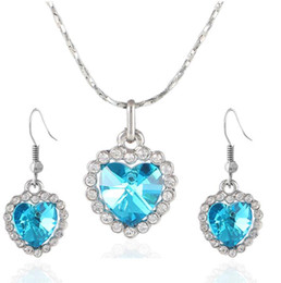 Wholesale Ocean Heart Jewelry Sets - Heart of Ocean Crystal Pendant Necklace Earrings Bridal Wedding Jewelry Set Fashion Full Rhinestone Crystal Bridesmaid Party jewelry Gifts