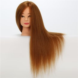 Wholesale Yellow Long Wigs - Cosmetology Mannequin Head Long Straight Training Mannequin Heads Synthetic and Animal Mixed Hair Mannequin Heads Yellow Color Hair