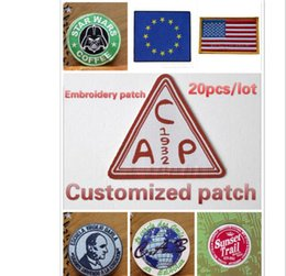 Wholesale Wholesale Customized Patches - Customized Embroidery Patch iron or sew on back DIY badge fashionable mixed assorted clothing patch Applique garment