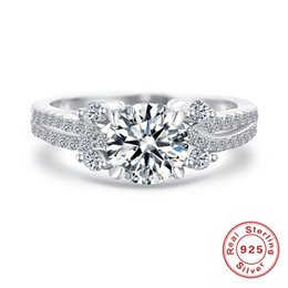 Wholesale Double Layer Ring - Solid 925 Sterling Silver Ring 18K White Gold Plated Cluster Style Double Layers 4ct Simulated Diamond Wedding Rings Luxury Jewelry