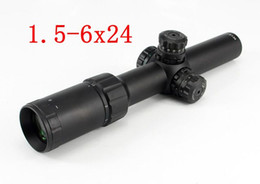 Wholesale Ir Rifle - Rifle air Gun Dual Rifle Scope 1.5-6X24 IR Tactical Red Green Illuminated Magnifier Hunting Air Gun Riflescope w  Rail Mount