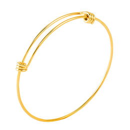 Wholesale Wholesale Gold Filled Wire - IJB0456 hot sale Cheap Latest fashion 316L stainless steel pvd gold expandable wire bracelets adjustable bangle