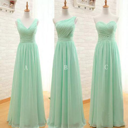 Wholesale One Shoulder Mint Dress - Country Mint Green Long Chiffon A Line Sweetheart One Shoulder V Neck Pleated Bridesmaid Dress 2017 Cheap Bridesmaid Dresses Under 100