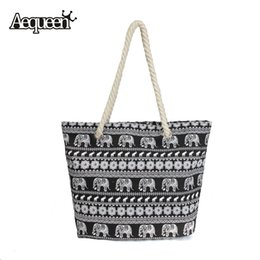 Wholesale Womens Black Large Bags - Wholesale-Women Printed Handbags Casual Flower Strip Simple Canvas Bags Womens Large Capacity Shopping Bag Ladies Shoulderbag Zipper Totes