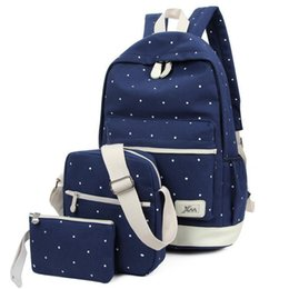 Wholesale Grils Sets - 3pcs set 2017 Canvas Fashion Backpacks for Teenage Grils Student Canvas BagNew Casual Women Backpack Preppy Dot Computer Travel Bags