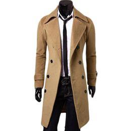 Wholesale Mens Woolen Long Coats - Wholesale- Double Breasted X-Long Jacket Woolen Blends Windbreaker Palto Jaqueta Masculina Men Winter Coat Hombre Mens Jackets and Coats