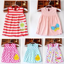 Wholesale Knee Length Chinese Dresses - Baby girls cotton dress summer cartoon embroidered kids sleeveless Dot Flowers striped princess dress for 1-2T children good quality A080