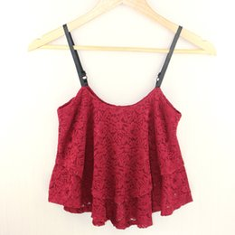 Wholesale Low Cut Tank Tops - Wholesale-2016 New Korean Summer Women Sexy Ruffle Spaghetti Strap Lace Vest Low-cut Cute Lace Shirts Ladies Crop Tank Tops