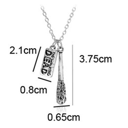 Wholesale Antique Film - fashion jewelry antique silver The Walking Dead necklace Cudgel and letter logo pendant necklace movie jewelry film necklace keychain 161866