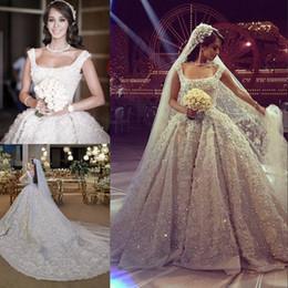 Wholesale Elie Saab Wedding Dresses Gold - Luxury Elie Saab Beads Ball Gown Wedding Dresses 3D Appliques Square Neck Backless Bridal Dress Chapel Plus Size Sequined Wedding Gowns