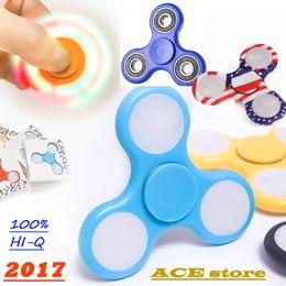 Wholesale Wholesale Ceramic Balls - Finger Spinner LED lights handspinner luminous Hand Spinner fingertips Torqbar fidget spinner stainless steel bearings with Ceramic balls