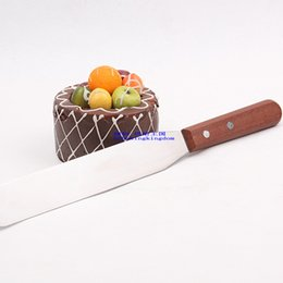 Wholesale Cake Knife Wooden Handle - Wholesale- Stainless Steel Palette Knife Baking Tools,8 Inch Wooden Handle Spatula,Pastry Cream Knife Blade,Cake tool,Cake Decorating Tools