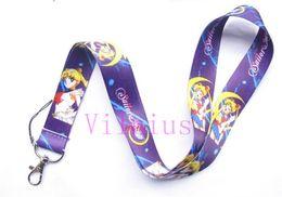 Wholesale Key Moon Cartoon - 30Pcs New Cosplay Sailor Moon Anime Cartoon Style Neck Strap Purple Lanyard For Phone Keys ID Card