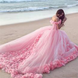 Vestidos de tul rosa online-2017 Venta Caliente Rosa Nube 3D Flor Rosa Vestidos de Novia Largo de Tul Puffy Ruffle Robe De Mariage Vestido de Novia Dijo Mhamad vestido de Novia