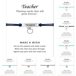Wholesale Unisex Friendship Bracelets - (10 pcs lot)Silver Tone Teacher Teach Charm Bracelets & Bangles For Women Girls Adjustable Friendship Jewelry With Card