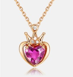 Wholesale Red Tourmaline Jewelry - Rose gold color gold necklace Necklace Korean crown red Tourmaline Pendant Chain heart-shaped diamond ladies clavicle Fashion Jewelry Pendan