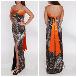 Wholesale Cheap Bridal Gowns Online - 2017 Strapless Sheath Camo Wedding Dress Split Floor Length Camouflage Vestidos De Novia Country Custom Online Bridal Gowns Cheap