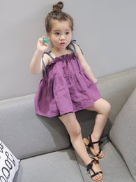 Wholesale Girl Baby Dress Collections - New Collection Toddler Girls Summer Ruffles Halter Dress Candy Color Children Cotton Dress Western Fashion Ruffles Baby Dress