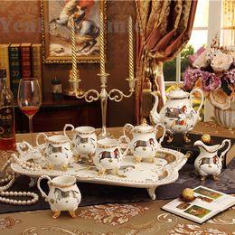 Wholesale Bone Horse - Porcelain coffee set bone china god horses design outline in gold 8pcs European tea set coffee pot coffee jug tea cup tea tray