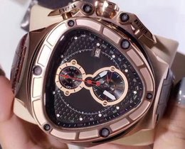 Wholesale Gold Crystal Watches - Luxury Brand Mens Chronograph VK Quartz Watch Men Lamborghini 66th Anniversary Watches Men Sport Racing Car Rose Gold Leather Wristwatches