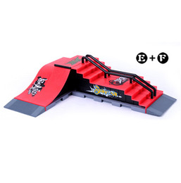 Wholesale E Step - Wholesale-Model E+F Mini Ramp Finger Skateboard Park Skatepark Tech-Deck Skate Park Includes 2 Board Unilateral Slope&Steps Shape