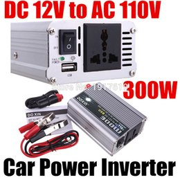 Wholesale Inverter Chargers Portable Power Supplies - Wholesale- 300W Watt Car Power Inverter Converter DC 12V to AC 110V USB Adapter Portable Voltage Transformer Car Chargers Power Supply