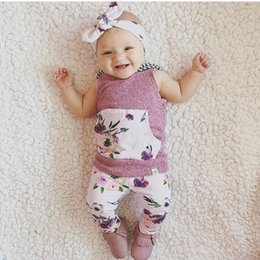 Wholesale Girls Shorts Floral Pants - Ins Children Summer Clothing Sets Baby Girl Sleeveless Floral Print Hoodies+Long Pants + Headband 3pcs Sets Kids Cotton Clothes Suits