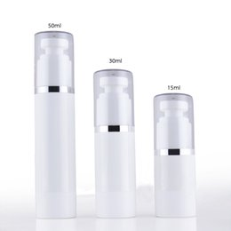Wholesale pet containers - 10pcs Portable Plastic Edge PET Airless Pump Bottle15ml 30ml 50ml Vacuum Lotion Perfume Bottles Empty Small Cosmetic Container