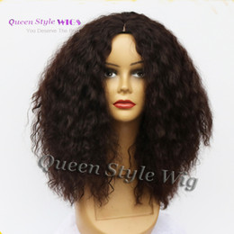 Wholesale Kanekalon Curly - Brown Kinky Curly Wig 100% Kanekalon Heat Resistant Synthetic Wigs For Black Women 6A Machine Made None Lace Wig Middle Part