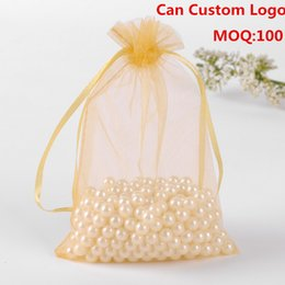 Wholesale Gold Drawstring Organza Bag - Wholesale-15x20cm Gold Customize Organza Jewelry Bags Jewelry Packaging Bags Drawstring Bags Bolso Organza Sachet 100pcs lot Wholesale
