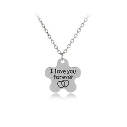 "Wholesale Double Heart Crystal Necklace - ''i love you forever ""Stamp Flower Shape Pendant Necklace Choker Statement Double Heart Short Necklace For Women Girl"
